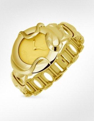 Roberto Cavalli Snake - Gold Plated Round Case Dress Watch