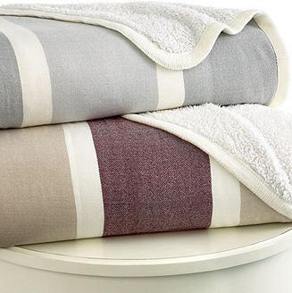Berkshire CLOSEOUT! Cabana Stripe Reverse Sherpa Full/Queen Blanket