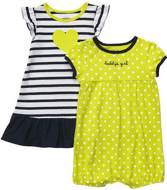 Carter's Girls Stripe Heart Dress with Diaper Cover and Polka Dot Printed Romper