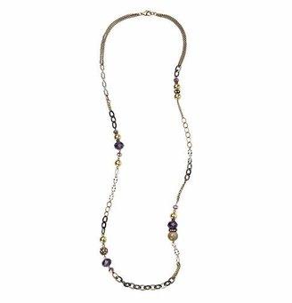 LOFT Long Purple and Metallic Bead Necklace