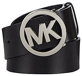 Michael Kors Logo Plaque Leather Belt