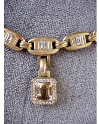 Kieselstein-Cord pristine (PR) Barry Column Necklace 18K Gold/Diamonds with Diamond Citrine Drop