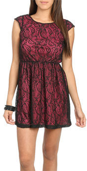 Wet Seal WetSeal Lace Skater Dress Charcoal