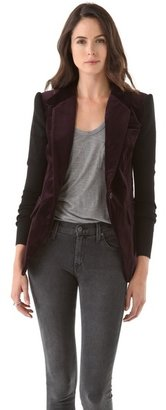 Yigal Azrouel Cut25 by Velvet Blazer with Rib & Leather