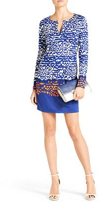 Diane von Furstenberg Reina Long Sleeve Silk Jersey Dress In Scribble Lines Placement