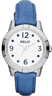 JCPenney Relic® Payton Womens Blue Leather Strap Watch
