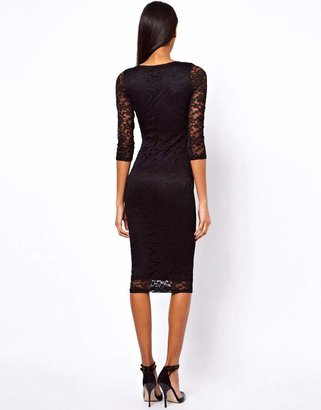 Asos Midi V Neck Lace Bodycon Dress