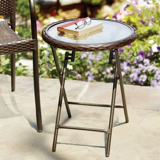 Bed Bath & Beyond Stratford Wicker Folding Accent Table in Bronze