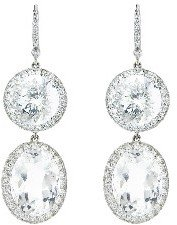 Andrea Fohrman Large Double Rock Crystal Drop Earrings with Diamonds - White Gold