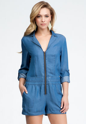 Bebe Zipper Front Short Romper