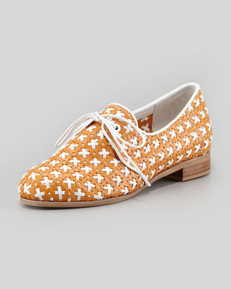 Jeffrey Campbell Mikhail Lace Oxford Flat, Orange/White