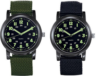 Avon Military Style Canvas Strap Watch in Black & Olive