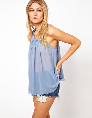 Asos Swing Vest With Pleated Neck