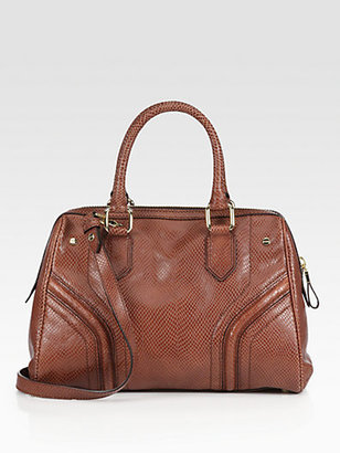 Milly Zoey Snake-Embossed Leather Satchel