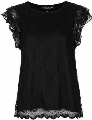 Topshop Tall scallop frill tee