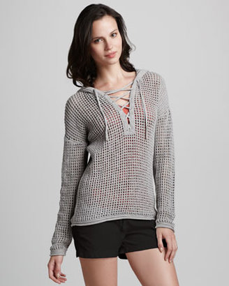 James Perse Knit Lace-Up Sweater