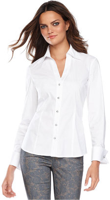 INC International Concepts Top, Long-Sleeve French-Cuff Rhinestone Shirt