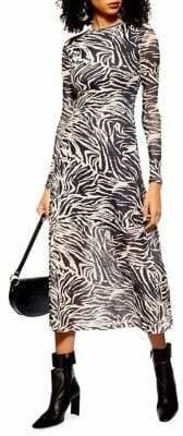 Topshop Zebra Print Mesh Midi Dress