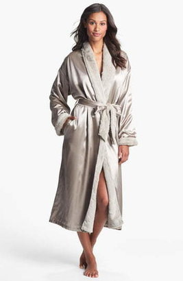 Giraffe at Home Faux Fur & Satin Robe