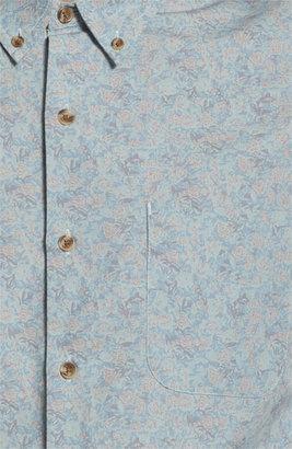 Topman Floral Print Shirt Blue X-Large