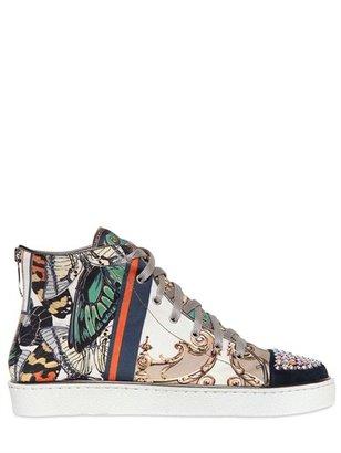 Gianmarco Lorenzi 20mm Satin & Swarovski High Top Sneakers