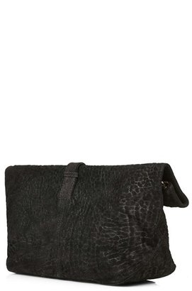 Topshop Embossed Suede Clutch