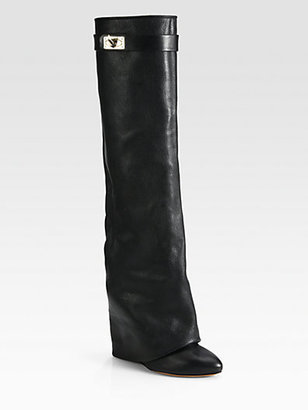 Givenchy Leather Knee-High Sheath Boots