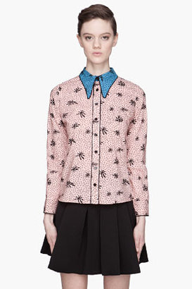 Marni Pink and blue collared silk blouse