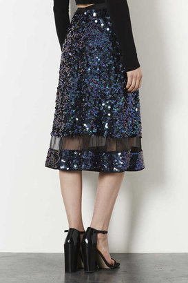 Topshop Sequin Organza Midi Skirt