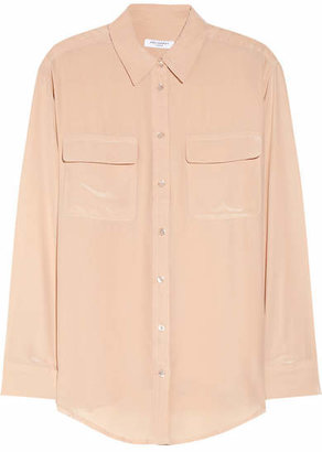Equipment - Signature Washed-silk Shirt - Blush $220 thestylecure.com