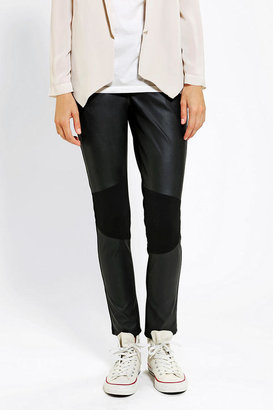 Sparkle & Fade Vegan Leather-Inset Skinny Pant