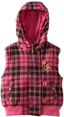 Southpole Big Girls' Plaid Hooded Vest