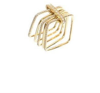 Elise Dray White diamond & gold square ring