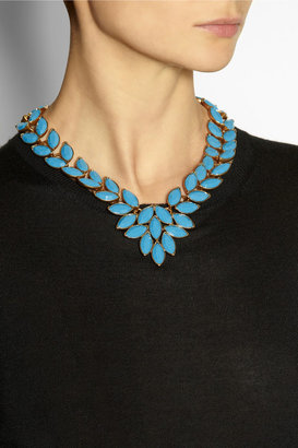 Oscar de la Renta Navette gold-plated cabochon necklace