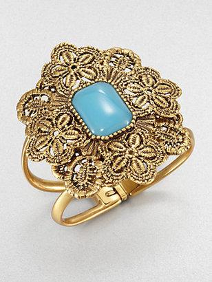 Oscar de la Renta Resin Cabochon & Lace Cuff Bracelet