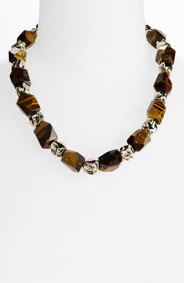 St. John Tiger's Eye & Metal Bead Necklace