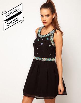 Asos Skater Dress With Embellished Overlay