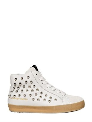 Studded Leather And Suede Sneakers