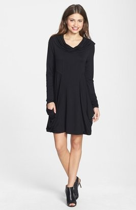 kensie Draped Cowl Neck French Terry Dress (Online Only) $89 thestylecure.com