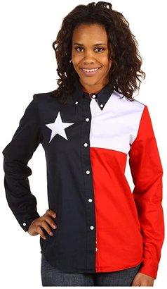 Roper Texas Pieced Flag Shirt (Natural) Women's Clothing
