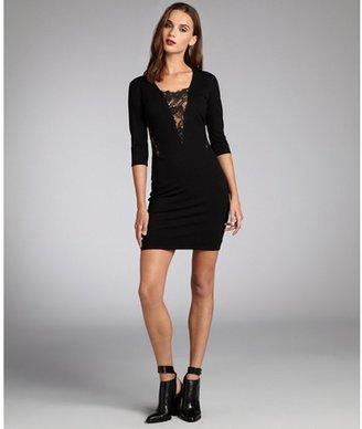 Mason black stretch knit sheer lace detail three quarter sleeve dress