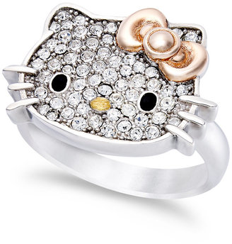 Hello Kitty Sterling Silver Ring, Pave Crystal Face Ring