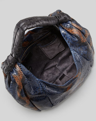 Nancy Gonzalez Python & Crocodile Hobo Bag, Blue/Black