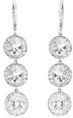 Andrea Fohrman Triple Rock Crystal Drop Earrings with Diamonds - White Gold