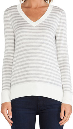 Splendid Cashmere Blend V Neck Striped Sweater
