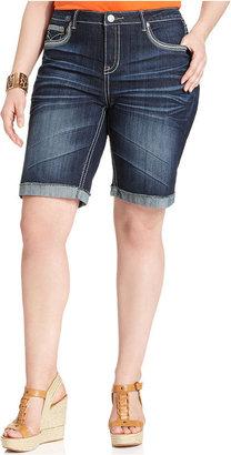 Hydraulic Plus Size Shorts, Lola Cuffed Denim Bermuda, Blue Wash