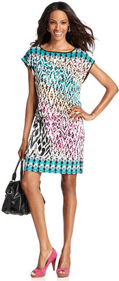 Style&Co. Petite Dress, Short-Sleeve Printed Drop-Waist