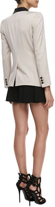 Alice + Olivia Two-Tone Leather-Collar Blazer