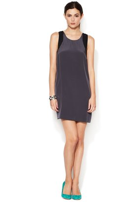 Colorblocked Silk Shift Dress