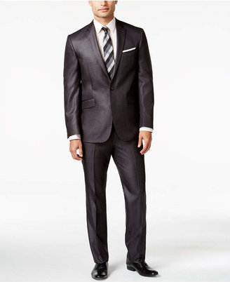 Kenneth Cole Reaction Slim-Fit Charcoal Basketweave Suit $375 thestylecure.com